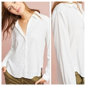 ⬇CLOTH & STONE White Tencel Button Up Hi Low Shirt